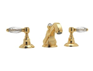 ROHL® Italian Country Bath 1.2 gpm Hex Spout Widespread Lavatory Faucet with Double Lever Handle in Inca Brass RA1808LCIB2