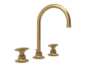 ROHL® Michael Berman Graceline™ 1.2 gpm 3-Hole Lavatory Faucet with Double Lever Handle in French Brass RMB2019DMFB2