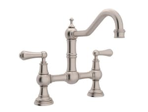 ROHL® Perrin & Rowe® 2-Hole Bridge Kitchen Mixer with Double Lever Handle in Satin Nickel RU4751LSTN2