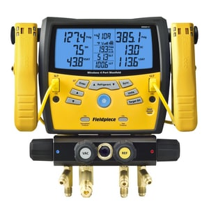 Fieldpiece Instruments 5 in. 4-Port Wireless Manifold with Micron Gauge and Clamp FSMAN460