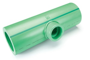 Climatherm® 6 x 6 x 3 in. Socket Weld Reducing SDR 7.4 Polypropylene Tee in Green A01136