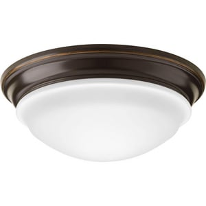 Progress Lighting 12-1/2 in. 1-Light LED Flushmount in Antique Bronze with Etched White Glass Shade PP23012030K9