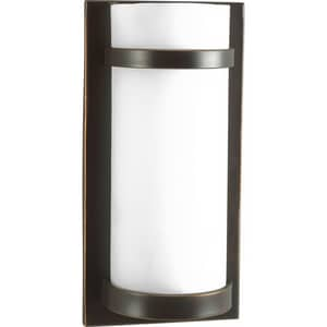 Progress Lighting 7 in. 1-Light Wall Sconce in Antique Bronze with Etched Glass Shade PP705220EB