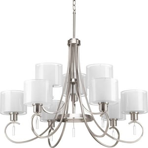 Progress Lighting Invite 100W 9-Light Medium E-26 Incandescent Chandelier in Brushed Nickel PP469709