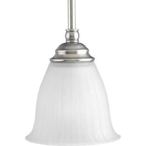 Progress Lighting Renovations 100 W 1-Light Medium Mini Pendant with Etched Ribbed Glass in Antique Nickel PP510481