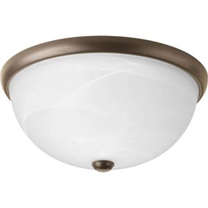Progress Lighting 14 in. 2-Light Close-to-Ceiling Fixture in Antique Bronze with Alabaster Glass Shade PP362420WB