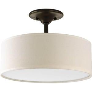 Progress Lighting Inspire 2 26w Cfl Semi Flush Mount Ceiling Light With Beige Linen Shade Antique Bronze P3939 20 Ferguson