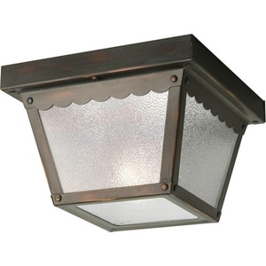 Progress Lighting Ceiling Mount 5 in. 60W Metal Ceiling Light with Textured Glass in Antique Bronze PP572720