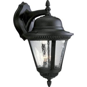 Progress Lighting Westport 19-1/4 in. 60W 2-Light Outdoor Wall Lantern in Black PP5864