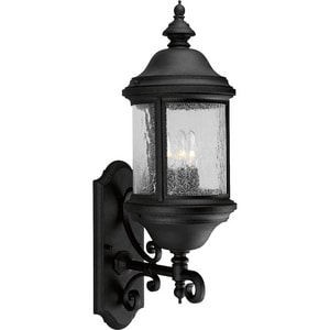 Progress Lighting Ashmore 23-3/8 in. 60 W 3-Light Candelabra Wall Lantern in Black PP565231