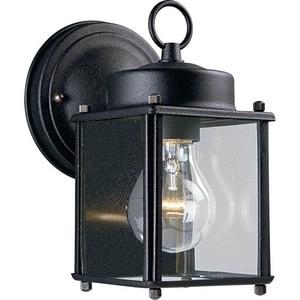 Progress Lighting Flat Glass Lantern 1 Light 100W Outdoor Wall Lantern with Clear Glass Black PP560731