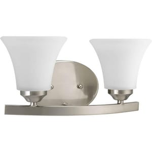 Progress Lighting Adorn 13-1/4 in. 100W 2-Light Bath Vanity Wall Light in Brushed Nickel PP200909