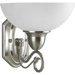 Progress Lighting Pavillion 100 W 10-1/8 in. 1-Light Medium Bath Bracket Wall Sconce in Brushed Nickel PP326509