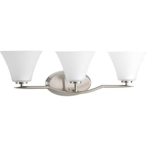 Progress Lighting Bravo 3 Light 100W Vanity Light Fixture Brushed Nickel PP2006