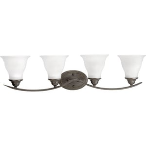 Progress Lighting Trinity 4 Light 100W Vanity Light Fixture with Etched Glass Dimmable Antique Bronze PP319320