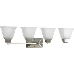 Progress Lighting North Park 4 Light 100W Vanity Light Fixture with Square Etched Glass Brushed Nickel PP274509
