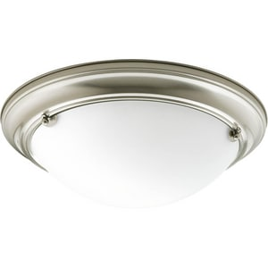 Progress Lighting Eclipse 15-1/4 in. 2-Light Close-to-Ceiling Fixture in Brushed Nickel with Satin White Glass Shade PP356209EB