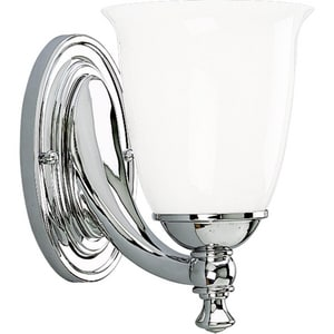 Progress Lighting Victorian 100 W 7-1/4 in. 1-Light Medium Bath Bracket Wall Sconce in Polished Chrome PP302715