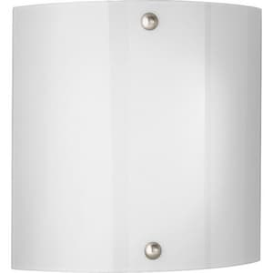 Progress Lighting 11-1/4 in. 2-Light Wall Sconce in Brushed Nickel with Smooth White Glass Shade PP709309EBWB