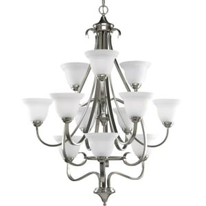 Progress Lighting Torino 34 in. 100W 12-Light Medium Incandescent Chandelier in Brushed Nickel PP441909