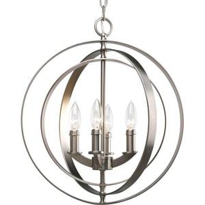 Progress Lighting Equinox 4 Light 60W Sphere Foyer Lantern with Pivoting Interlocking Rings Burnished Silver PP3827