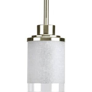 Progress Lighting Alexa 1 Light 100W Mini Pendant with White Linen Finished Glass Brushed Nickel PP5147