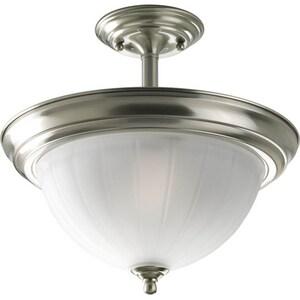 Progress Lighting Melon 100W 2-Light Medium E-26 Incandescent Semi-Flush Ceiling Light in Brushed Nickel PP3876