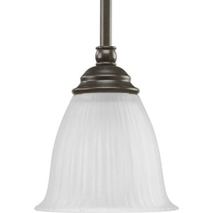 Progress Lighting Renovations 100 W 1-Light Medium Mini Pendant with Etched Ribbed Glass in Forged Bronze PP510477