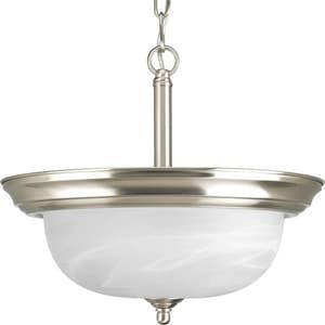 Progress Lighting Dome 2 Light 100W Semi Flush Light Brushed Nickel PP392709