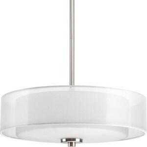 Progress Lighting Invite 100W 3-Light Medium E-26 Incandescent Semi-Flush Ceiling Light in Brushed Nickel PP369409