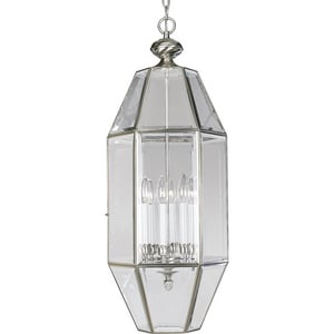 Progress Lighting 60 W 6-Light Candelabra Hall & Foyer in Brushed Nickel PP377909