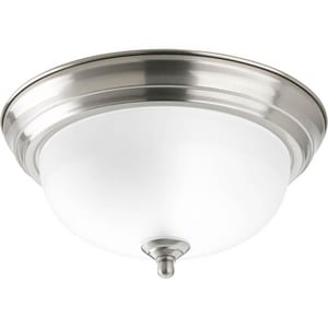 Progress Lighting Dome 5-1/2 in. 60 W 1-Light Medium Flush Mount Etched Glass Ceiling Fixture in Brushed Nickel PP392409ET