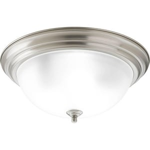 Progress Lighting Dome 15-1/4 x 6-5/8 in. 60 W 3-Light Medium Flush Mount Ceiling Fixture with Etched Glass in Brushed Nickel PP392609ET