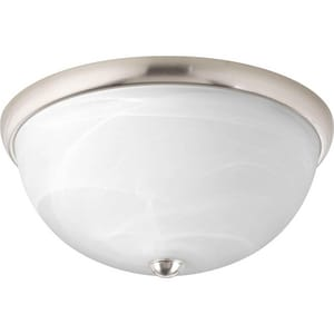 Progress Lighting 13 W 2-Light Flush Mount Close-to-Ceiling Fixture Light in Brushed Nickel PP362409WB