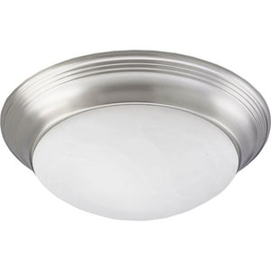 Progress Lighting Alabaster Glass 60 W 1-Light Medium Flush Mount Close-to-Ceiling Fixture Light in Bright Nickel PP3688