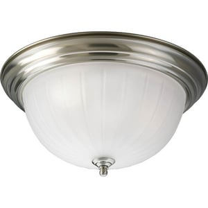 Progress Lighting Melon 60W 3-Light 120V Flushmount Ceiling Fixture in Brushed Nickel PP3818