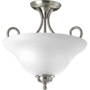 Progress Lighting Alabaster Glass 2-Light Medium Base Semi-Flush Mount Ceiling Light in Brushed Nickel PP3460