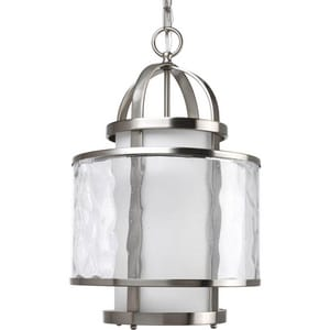 Progress Lighting Bay Court 1-Light Hall and Foyer Ceiling Light in Brushed Nickel PP3701
