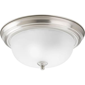 Progress Lighting Dome 75 W 2- Light Medium Flush Mount Ceiling Fixture in Brushed Nickel PP392509ET