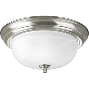 Progress Lighting Dome 2 Light 75W Flush Mount Ceiling Fixture with Alabaster Glass Brushed Nickel PP392509
