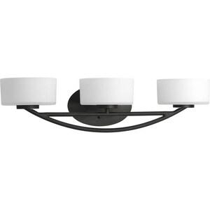 Progress Lighting Calven 3 Light 60W Halogen Vanity Light Fixture Forged Black PP322380WB
