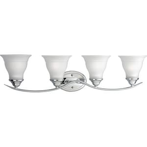 Progress Lighting Trinity 4 Light 100W Vanity Light Fixture with Etched Glass Dimmable Polished Chrome PP319315