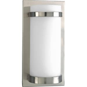 Progress Lighting 7 in. 1-Light Wall Sconce in Brushed Nickel with Satin Opal Glass Shade PP706809