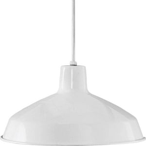 Progress Lighting Metal Shade Collection 7-1/2 in. 150W 1-Light Pendant in White PP509430