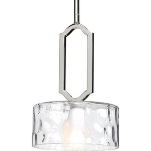 Progress Lighting Caress 12-1/2 in. 1-Light Mini Pendant in Polished Nickel PP5306104WB