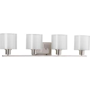 Progress Lighting Invite 32-1/2 in. 100W 4-Light Bath Vanity Wall Light in Brushed Nickel PP208009