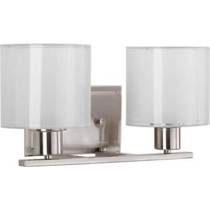 Progress Lighting Invite 14-1/2 in. 100W 2-Light Bath Light in Brushed Nickel PP207809