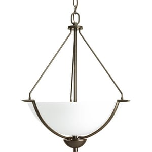 Progress Lighting Bravo 3-Light Inverted Pendant in Antique Bronze PP391220W
