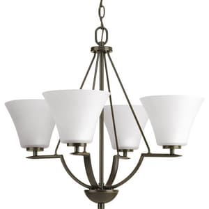 Progress Lighting Bravo 24 in. 4-Light Medium E-26 Base Chandelier in Antique Bronze PP462220W