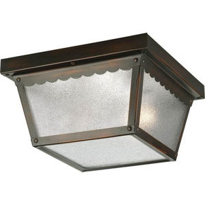 Progress Lighting Ceiling Mount 60W 2-Light Mount Fixture with Textured Glass in Antique Bronze PROP572920
